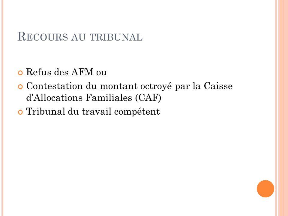 Recours au tribunal Refus des AFM ou