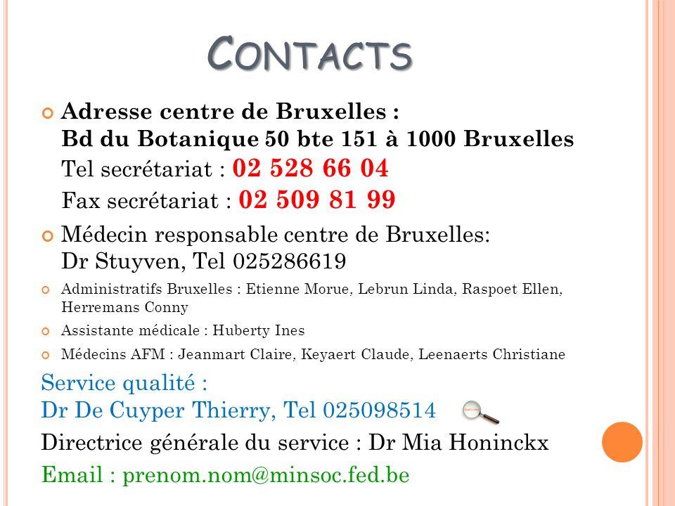 Contacts Adresse centre de Bruxelles : Bd du Botanique 50 bte 151 à 1000 Bruxelles Tel secrétariat : 02 528 66 04 Fax secrétariat : 02 509 81 99.