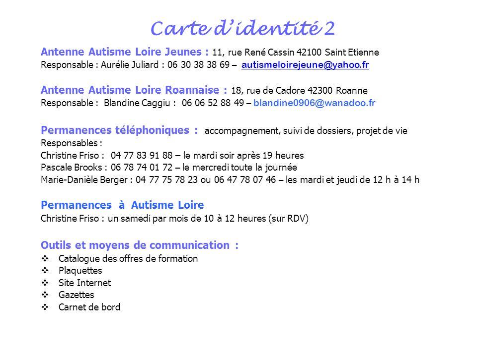 Carte d'identité 2 Antenne Autisme Loire Jeunes : 11, rue René Cassin 42100 Saint Etienne.