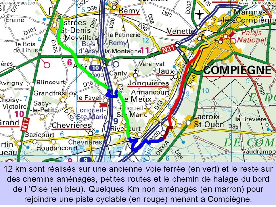 12 km sont réalisés sur une ancienne voie ferrée (en vert) et le reste sur des chemins aménagés, petites routes et le chemin de halage du bord de l 'Oise (en bleu).
