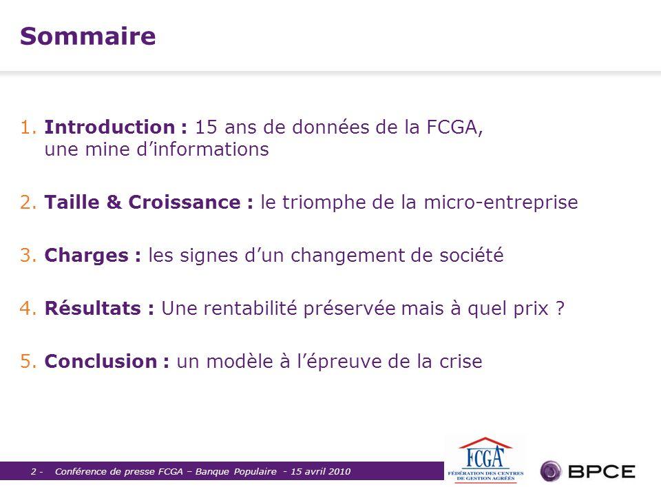 Sommaire 1. Introduction : 15 ans de données de la FCGA, une mine d'informations. 2. Taille & Croissance : le triomphe de la micro-entreprise.