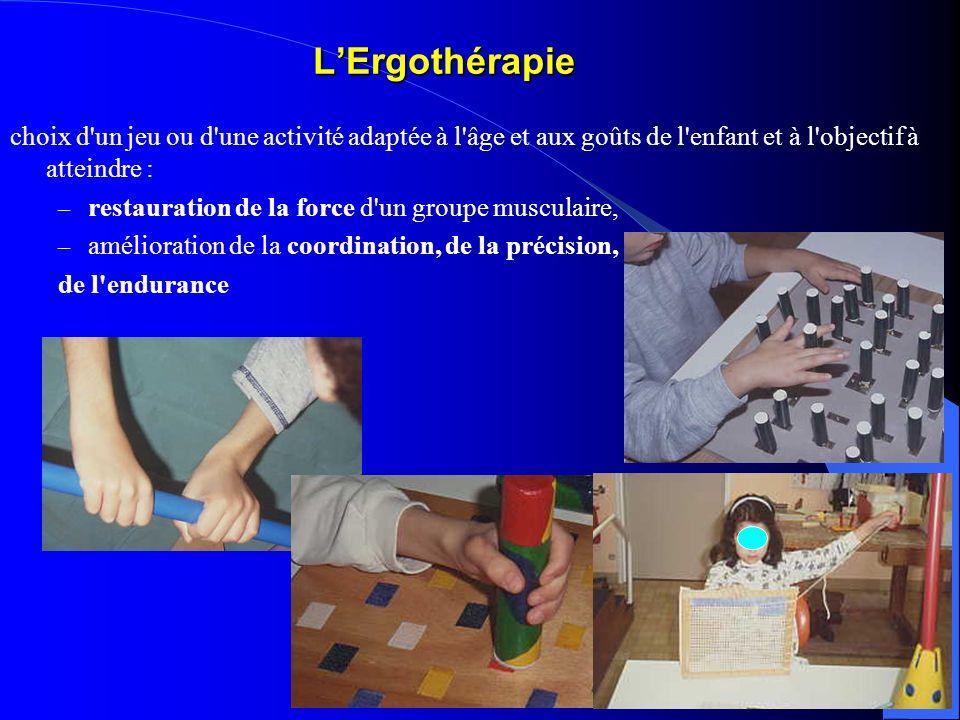 L'Ergothérapie choix d un jeu ou d une activité adaptée à l âge et aux goûts de l enfant et à l objectif à atteindre :