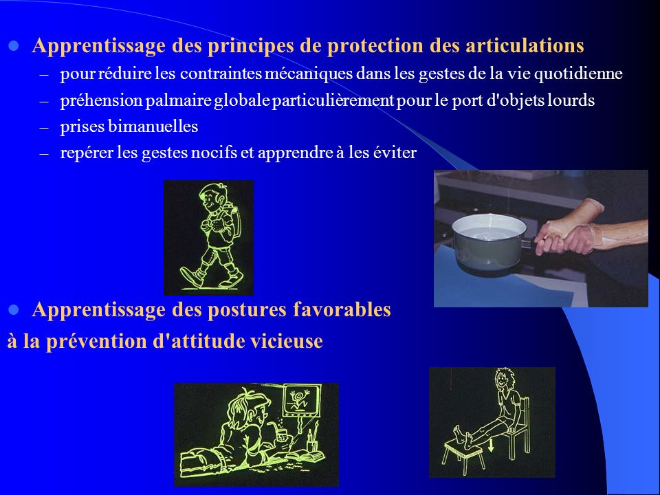 Apprentissage des principes de protection des articulations