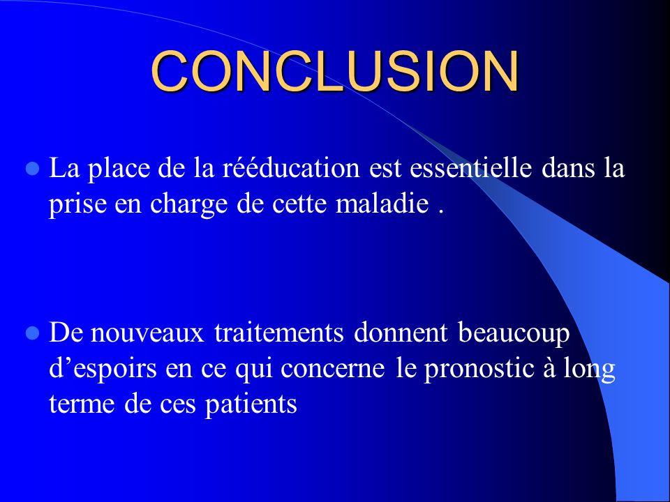 CONCLUSION La place de la rééducation est essentielle dans la prise en charge de cette maladie .