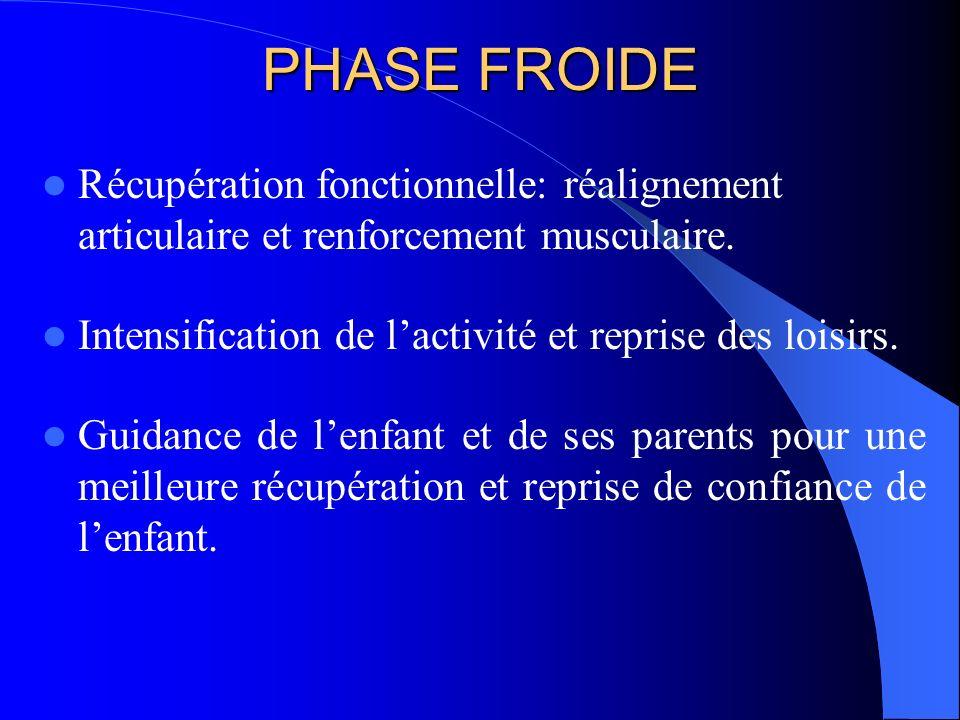 PHASE FROIDE Récupération fonctionnelle: réalignement articulaire et renforcement musculaire. Intensification de l'activité et reprise des loisirs.