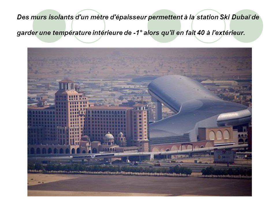 Des murs isolants d un mètre d épaisseur permettent à la station Ski Dubaï de garder une température intérieure de -1° alors qu il en fait 40 à l extérieur.