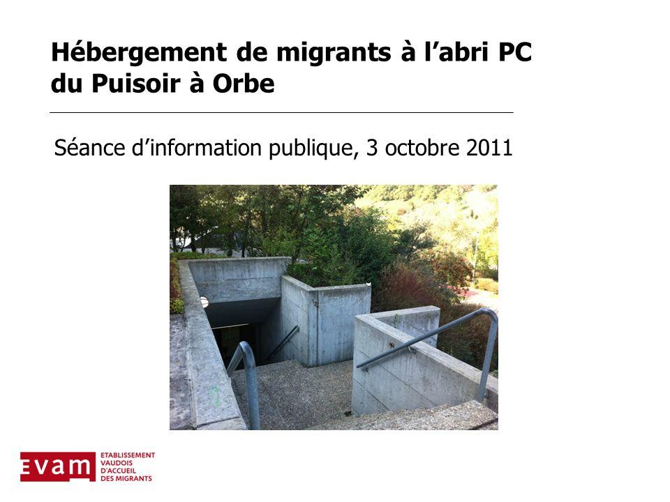 Hébergement de migrants à l'abri PC du Puisoir à Orbe