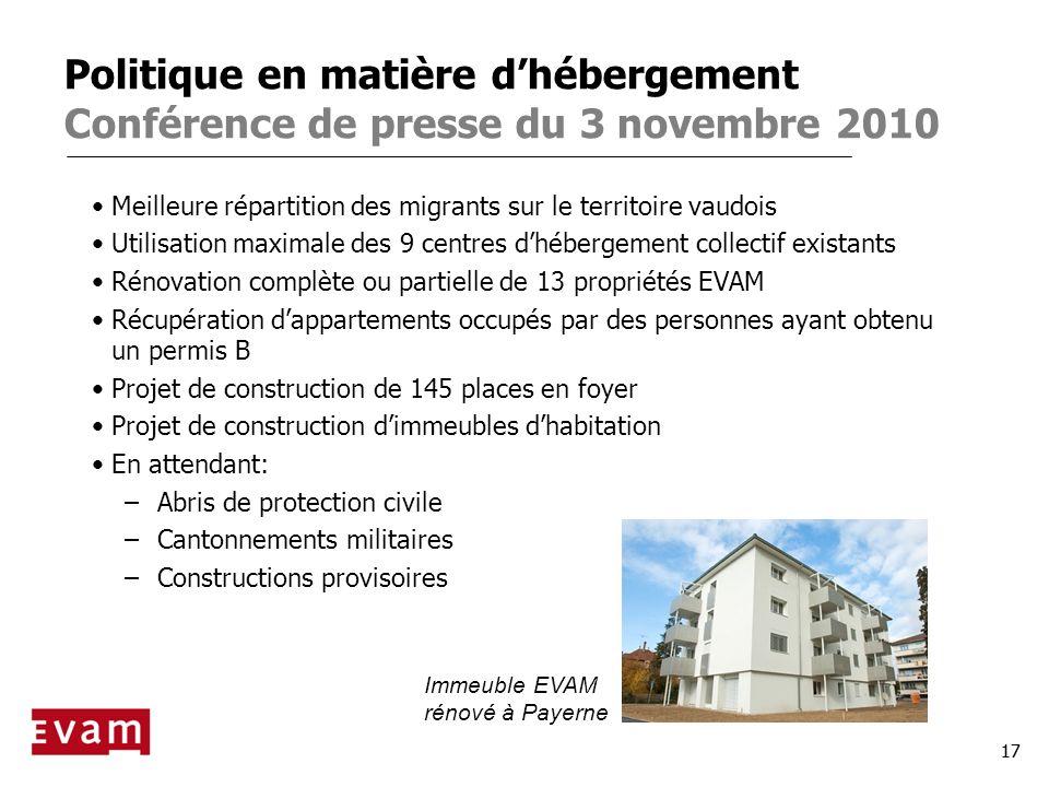 Politique en matière d'hébergement Conférence de presse du 3 novembre 2010