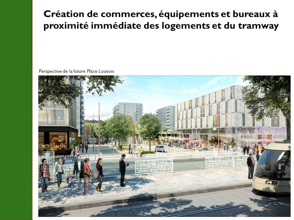 Création de commerces, équipements et bureaux à proximité immédiate des logements et du tramway