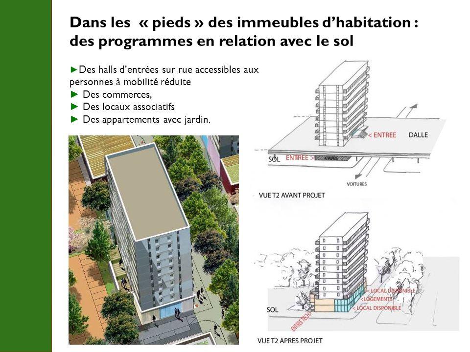 Dans les « pieds » des immeubles d'habitation :