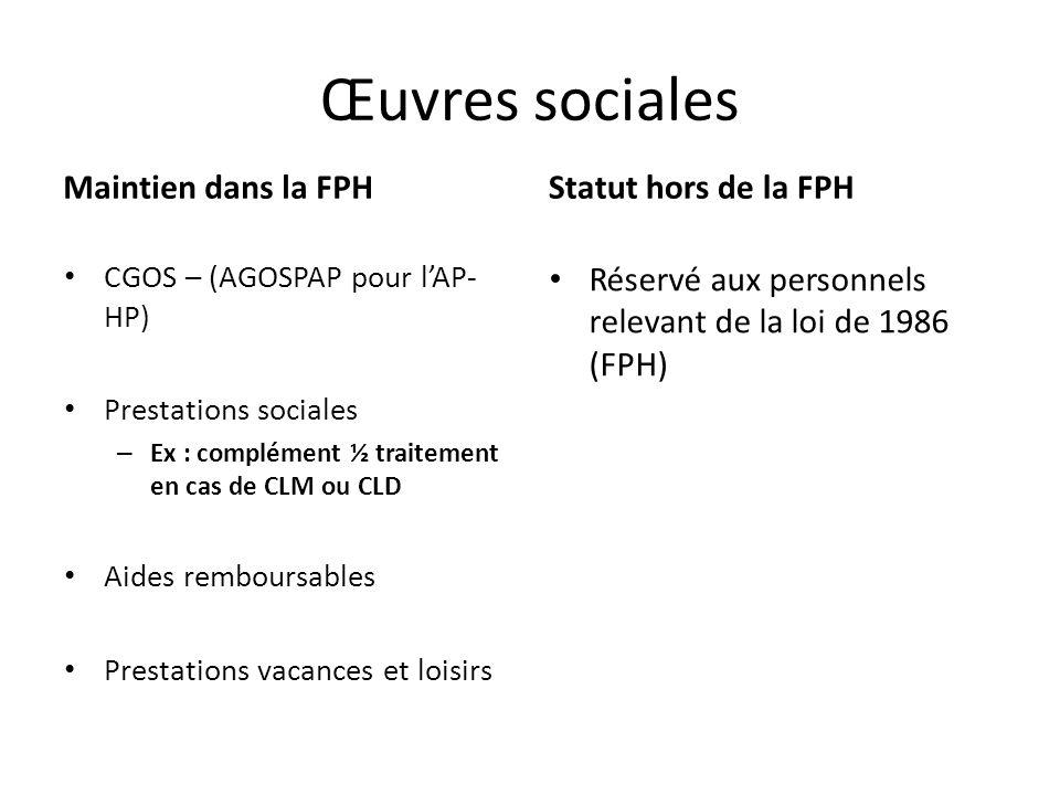 Œuvres sociales Maintien dans la FPH Statut hors de la FPH