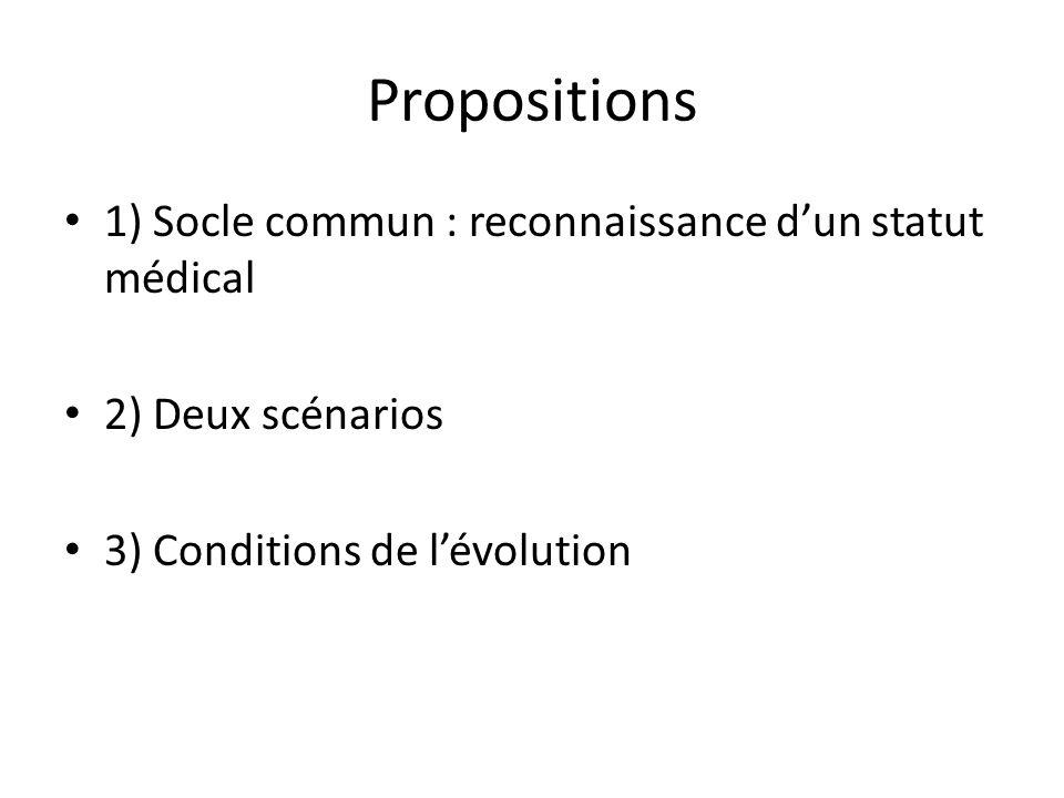Propositions 1) Socle commun : reconnaissance d'un statut médical
