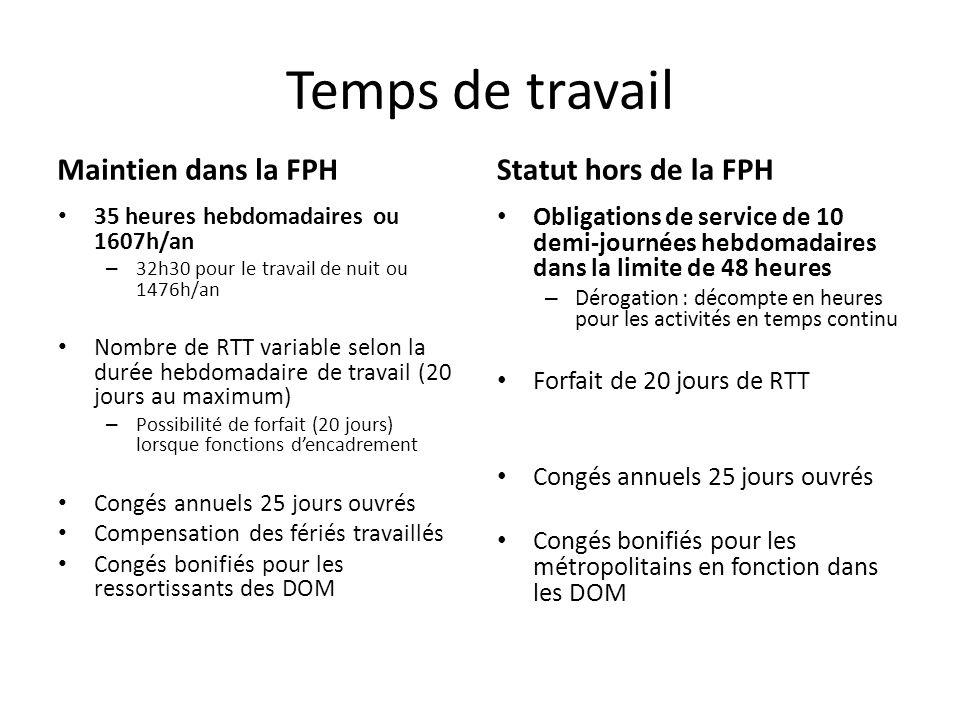 Temps de travail Maintien dans la FPH Statut hors de la FPH