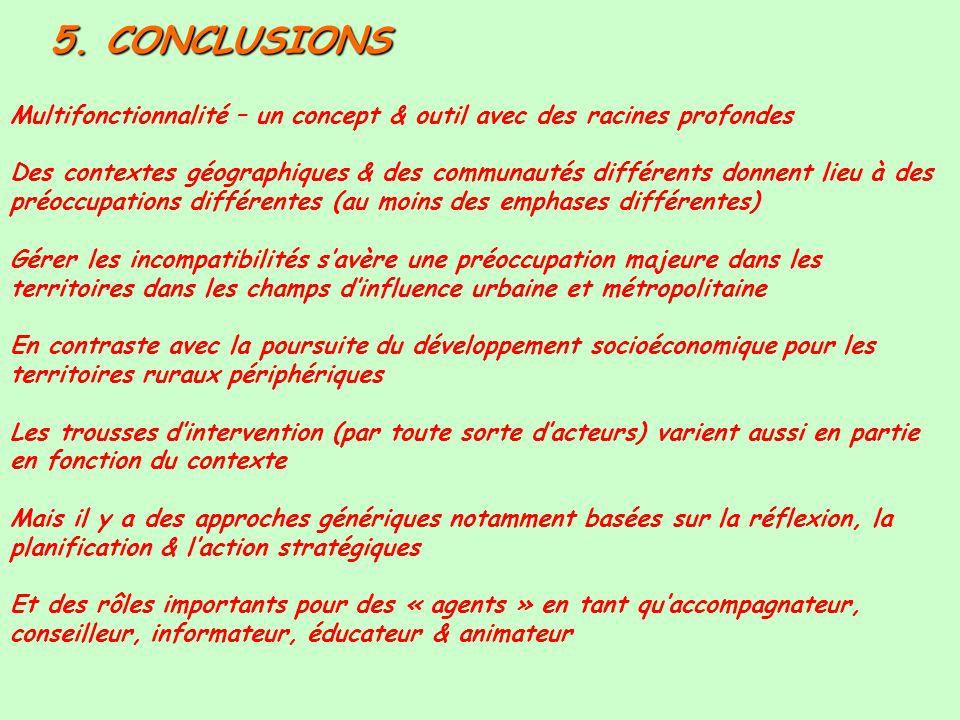 5. CONCLUSIONS Multifonctionnalité – un concept & outil avec des racines profondes.
