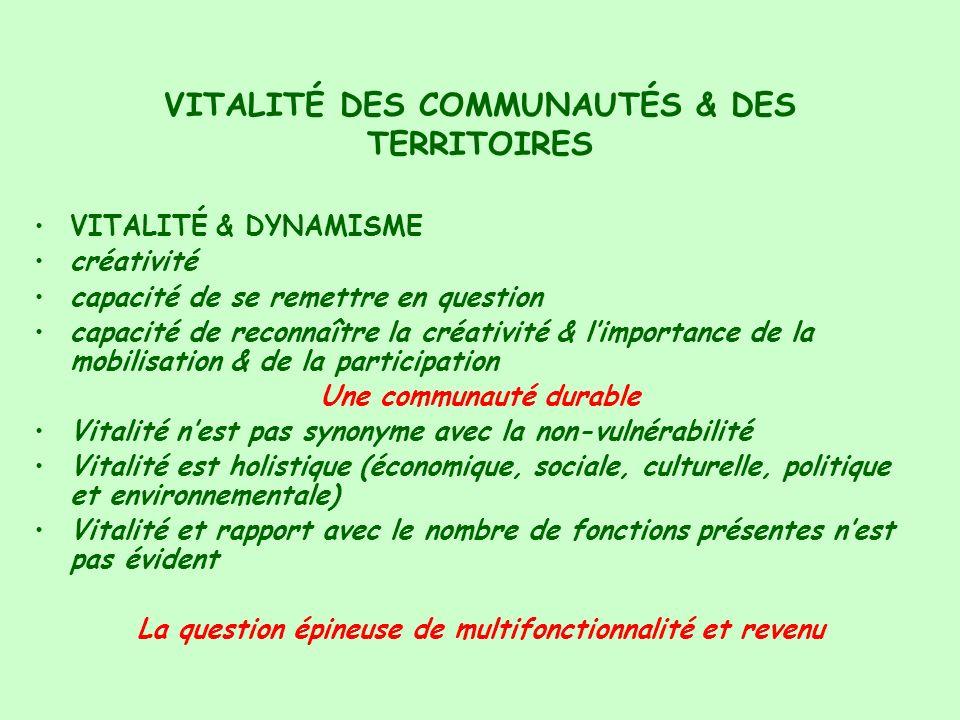 VITALITÉ DES COMMUNAUTÉS & DES TERRITOIRES