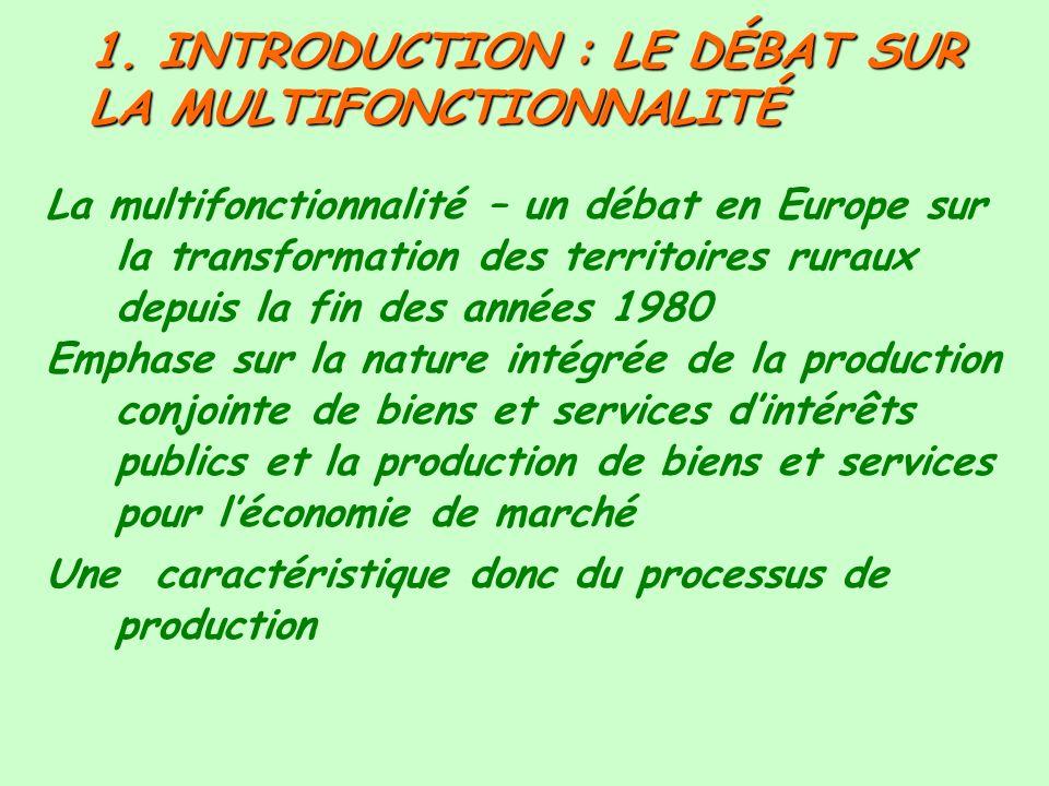 1. INTRODUCTION : LE DÉBAT SUR LA MULTIFONCTIONNALITÉ