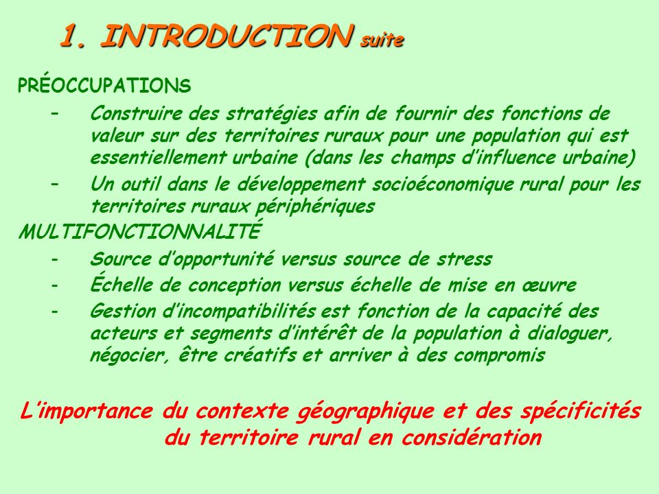 1. INTRODUCTION suite PRÉOCCUPATIONS.