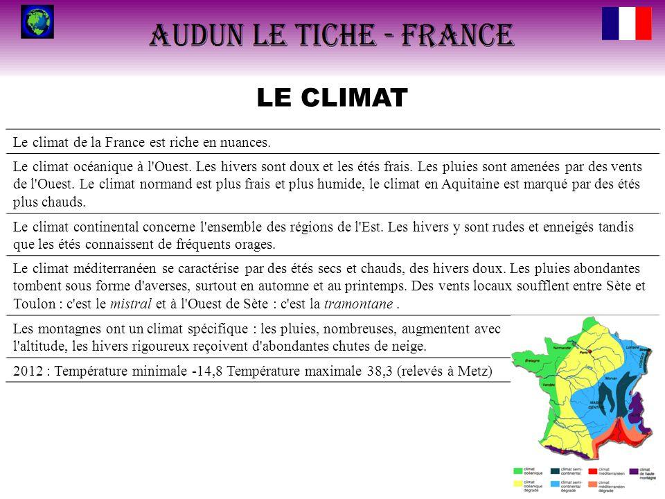 LE CLIMAT Le climat de la France est riche en nuances.