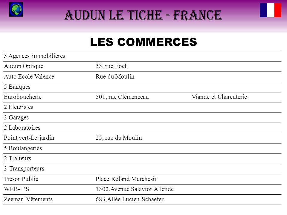 LES COMMERCES 3 Agences immobilières Audun Optique 53, rue Foch