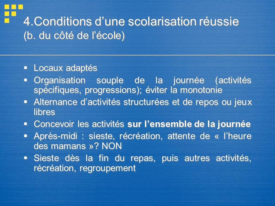 4.Conditions d'une scolarisation réussie (b. du côté de l'école)