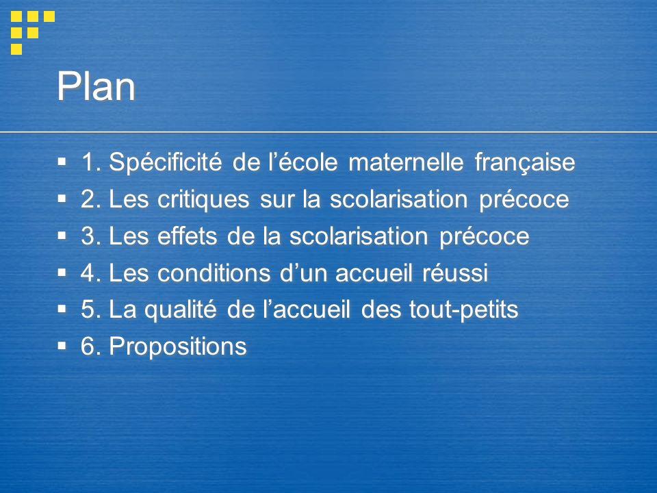 Plan 1. Spécificité de l'école maternelle française