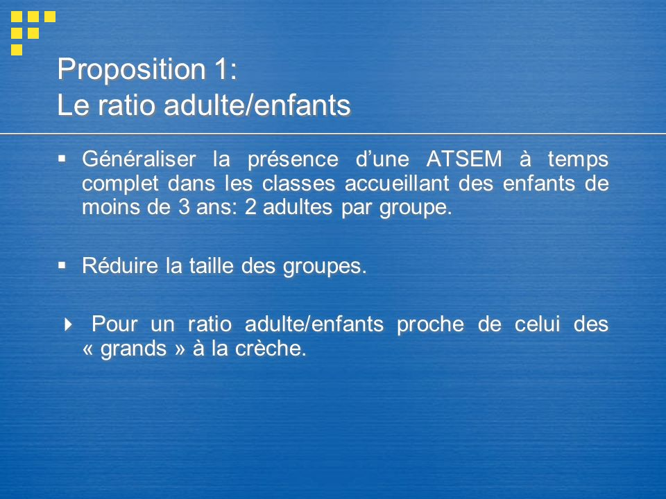 Proposition 1: Le ratio adulte/enfants