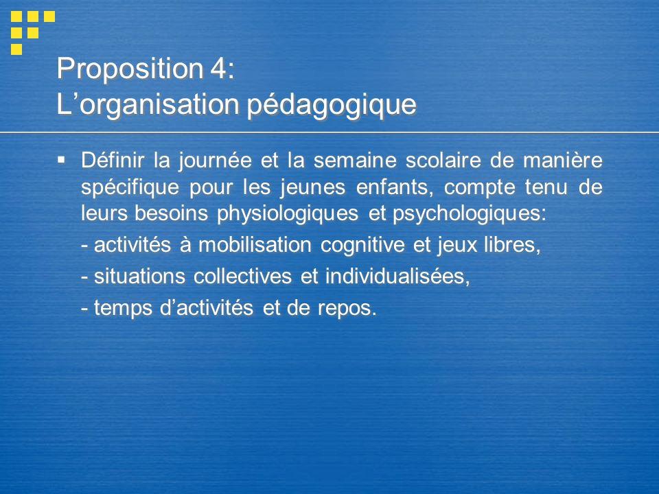Proposition 4: L'organisation pédagogique