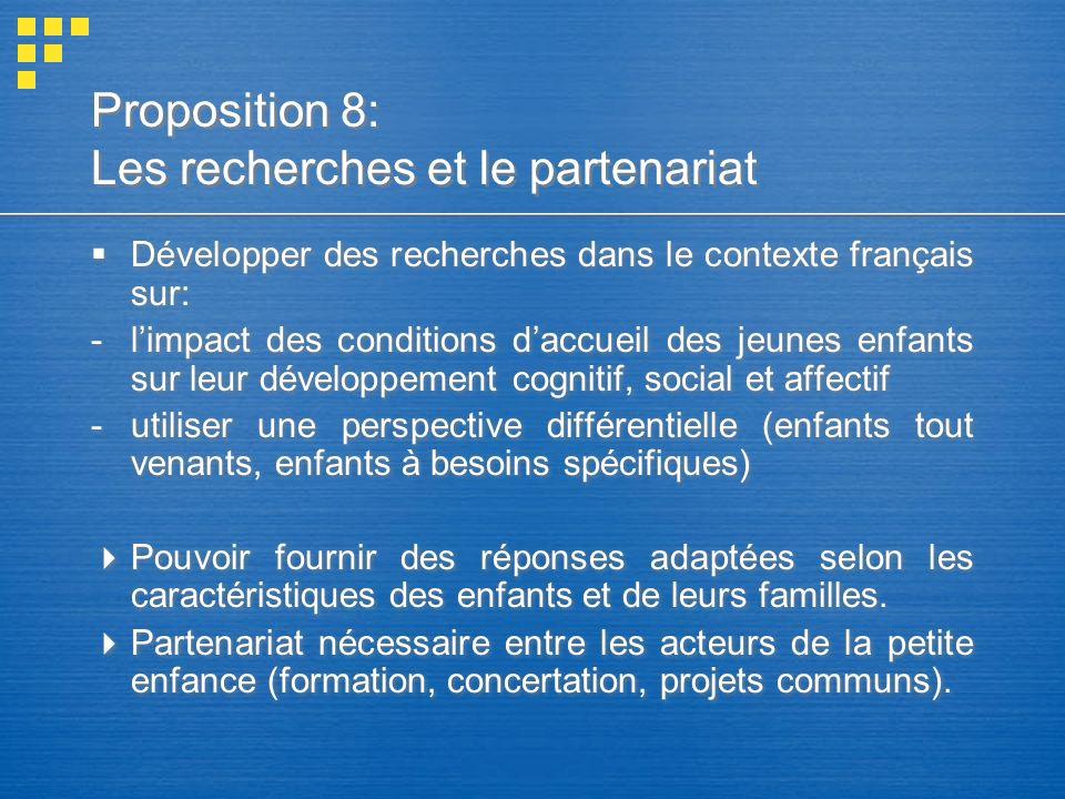 Proposition 8: Les recherches et le partenariat