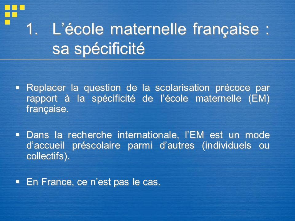 L'école maternelle française : sa spécificité