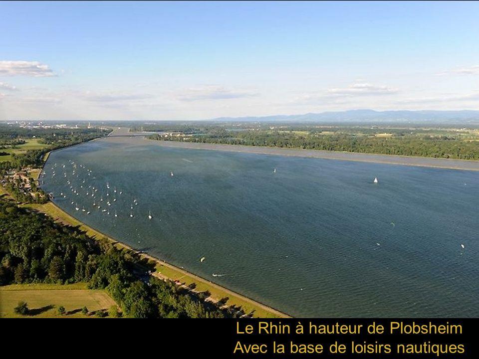 Le Rhin à hauteur de Plobsheim Avec la base de loisirs nautiques