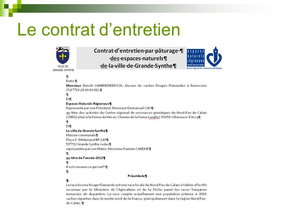 Le contrat d'entretien