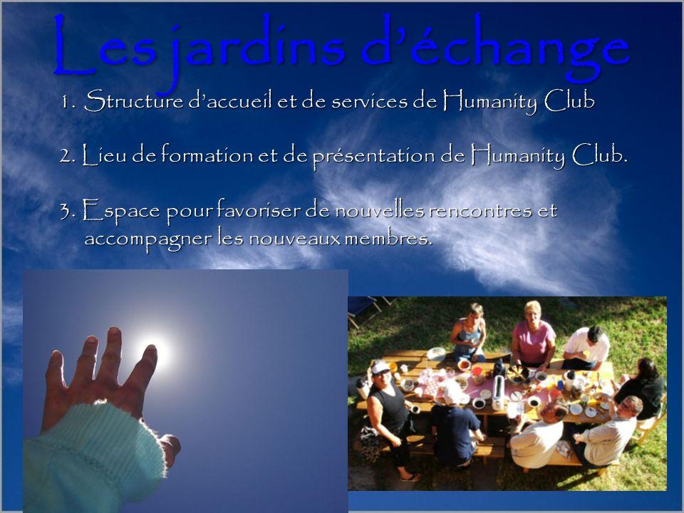 Les jardins d'échange Structure d'accueil et de services de Humanity Club. 2. Lieu de formation et de présentation de Humanity Club.