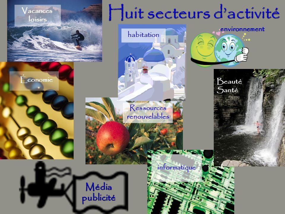 Huit secteurs d'activité