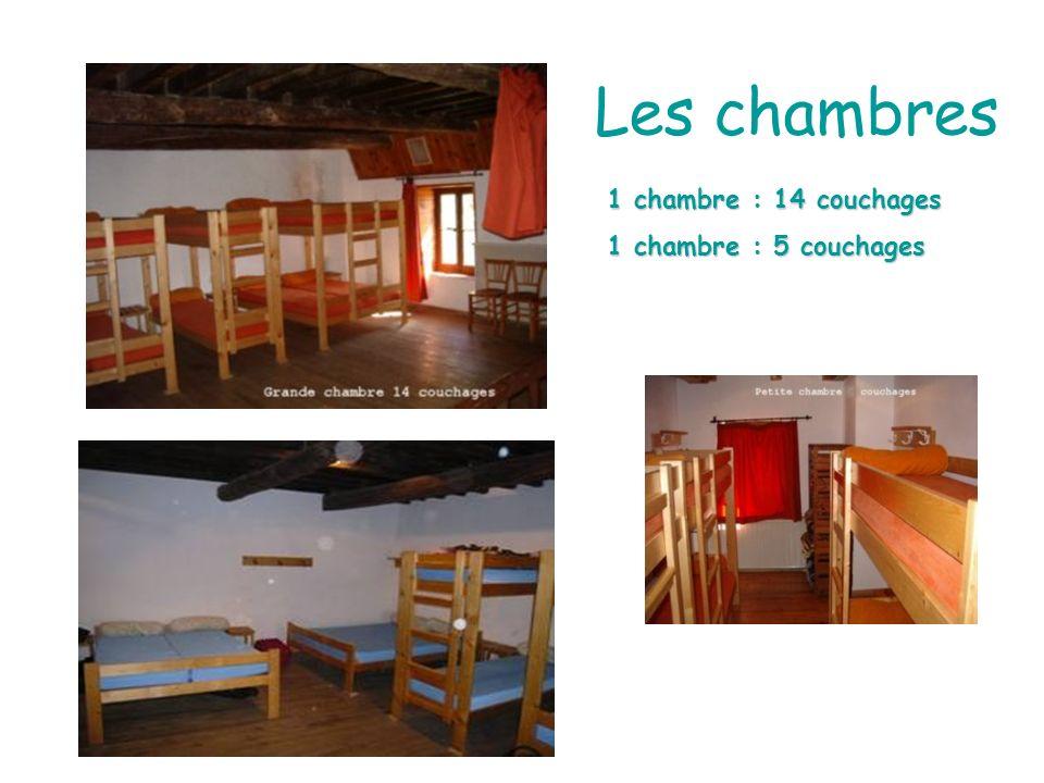 Les chambres 1 chambre : 14 couchages 1 chambre : 5 couchages