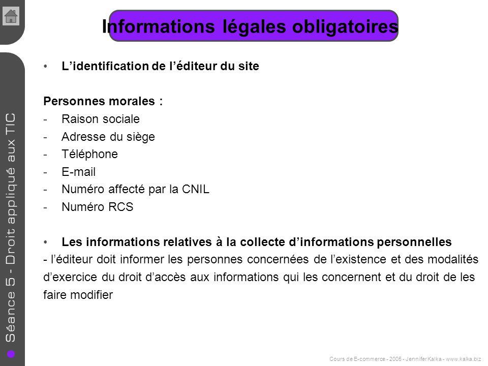 Informations légales obligatoires