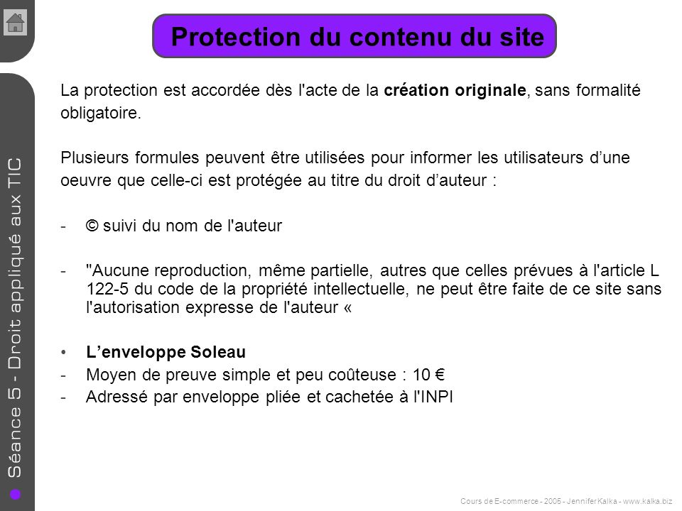 Protection du contenu du site