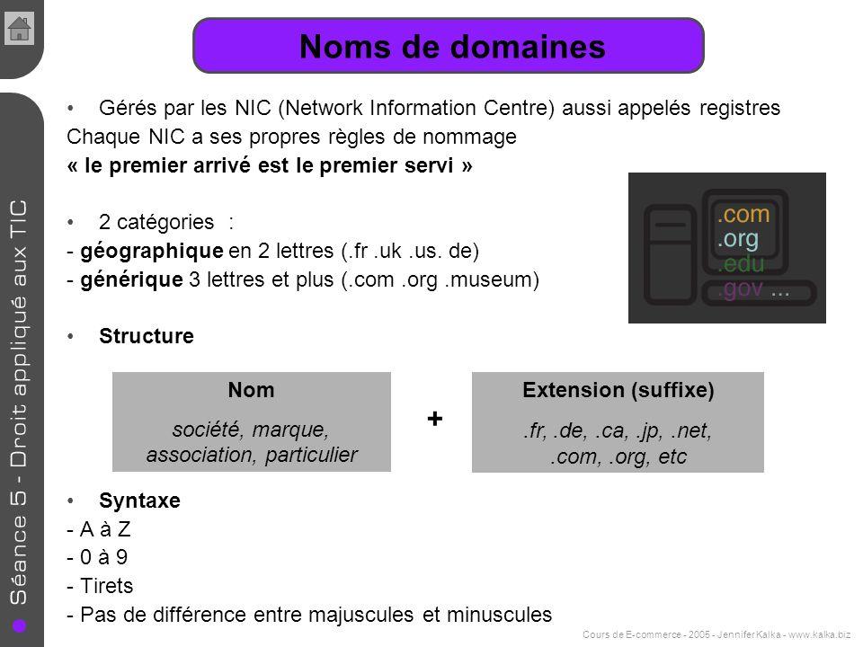 Noms de domaines Gérés par les NIC (Network Information Centre) aussi appelés registres. Chaque NIC a ses propres règles de nommage.