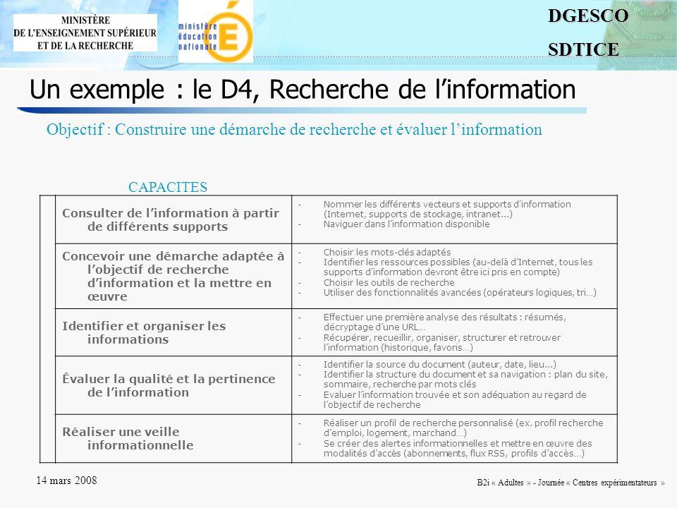 Un exemple : le D4, Recherche de l'information
