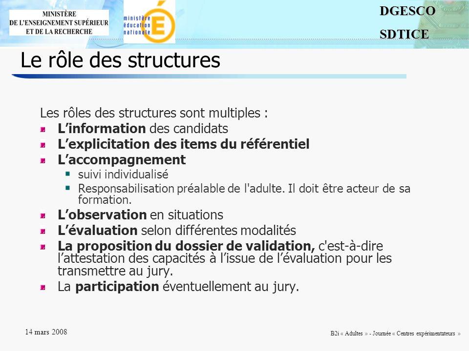Le rôle des structures Les rôles des structures sont multiples :