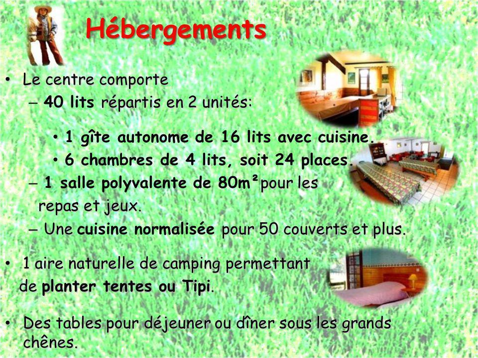 Hébergements Le centre comporte 40 lits répartis en 2 unités: