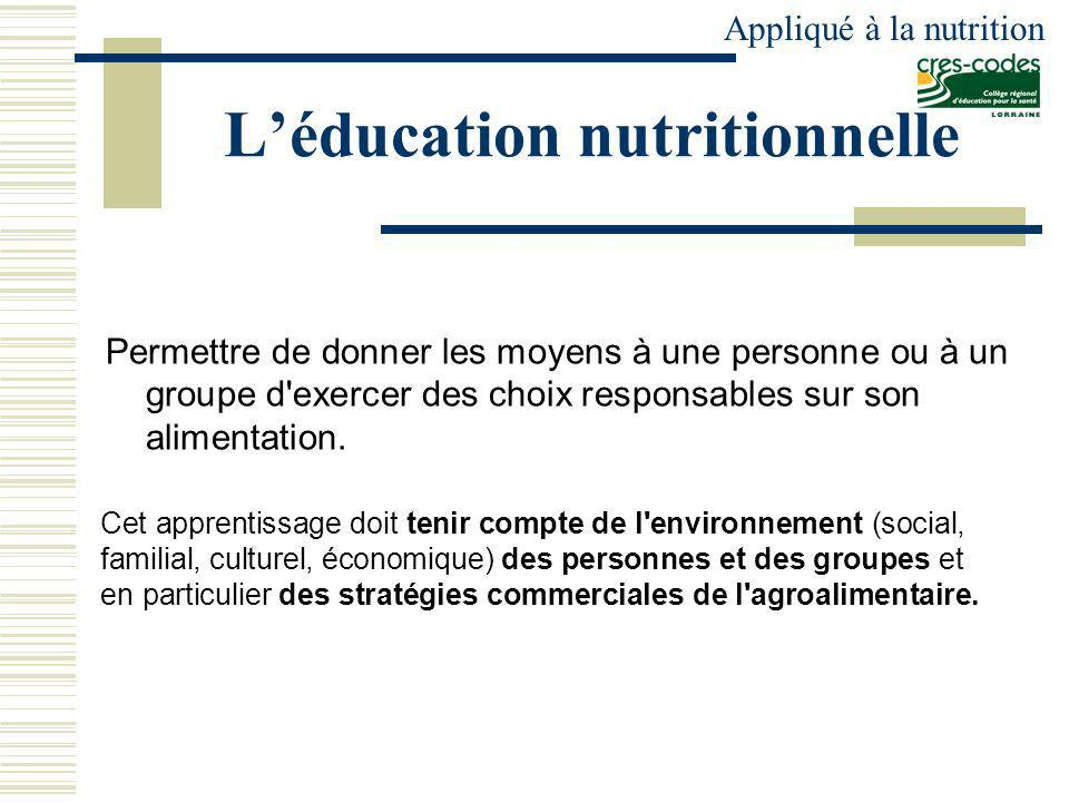 L'éducation nutritionnelle