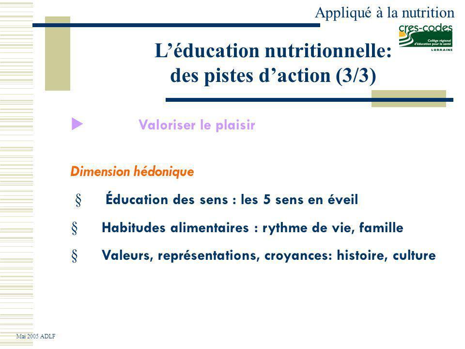 L'éducation nutritionnelle: des pistes d'action (3/3)
