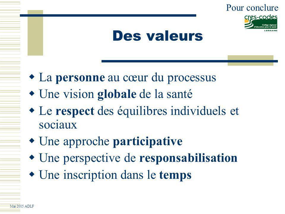 Des valeurs La personne au cœur du processus