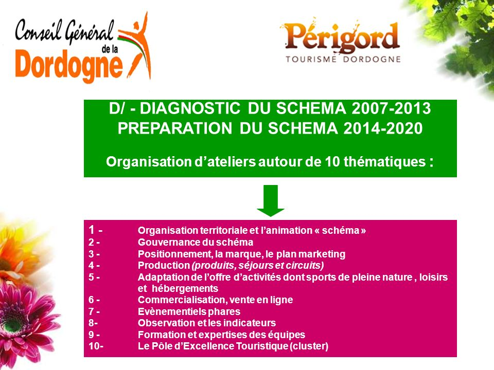 D/ - DIAGNOSTIC DU SCHEMA 2007-2013 PREPARATION DU SCHEMA 2014-2020
