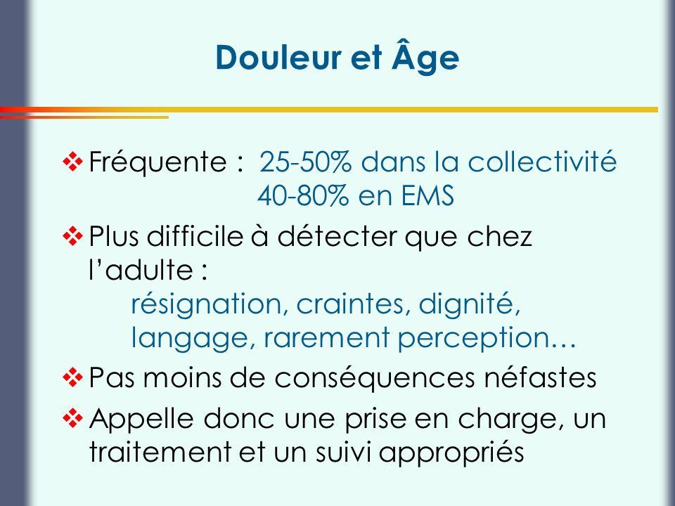 Douleur et Âge Fréquente : 25-50% dans la collectivité 40-80% en EMS