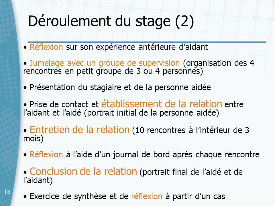 Déroulement du stage (2)