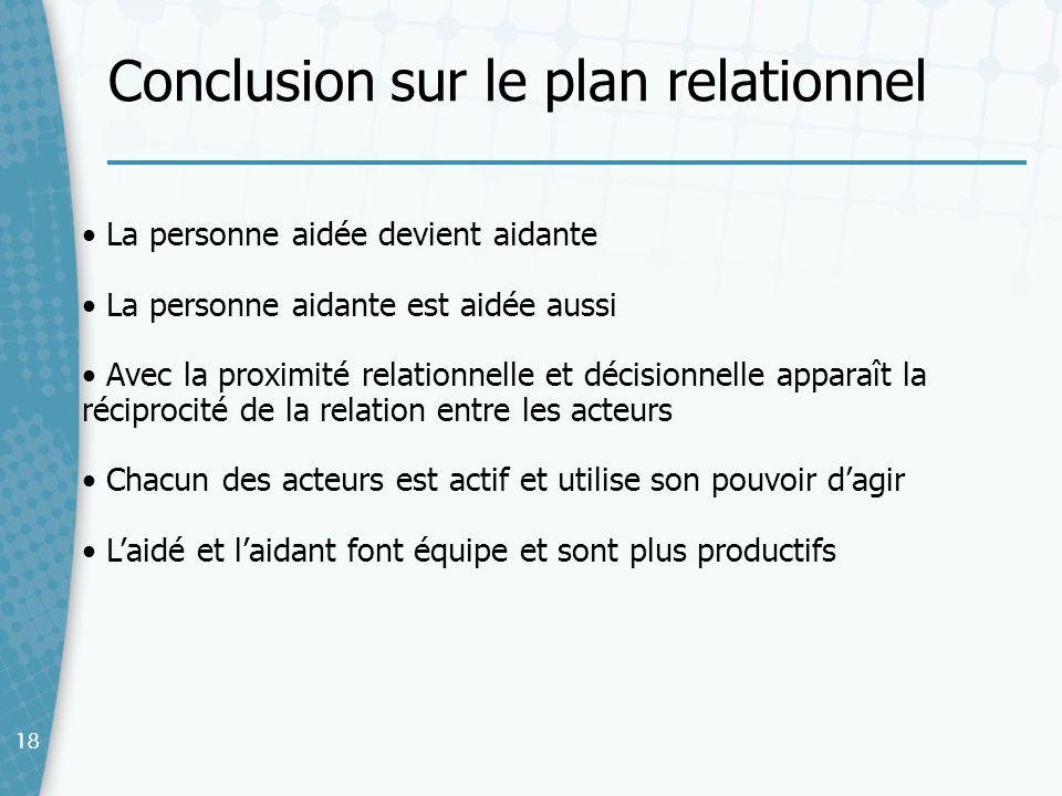 Conclusion sur le plan relationnel
