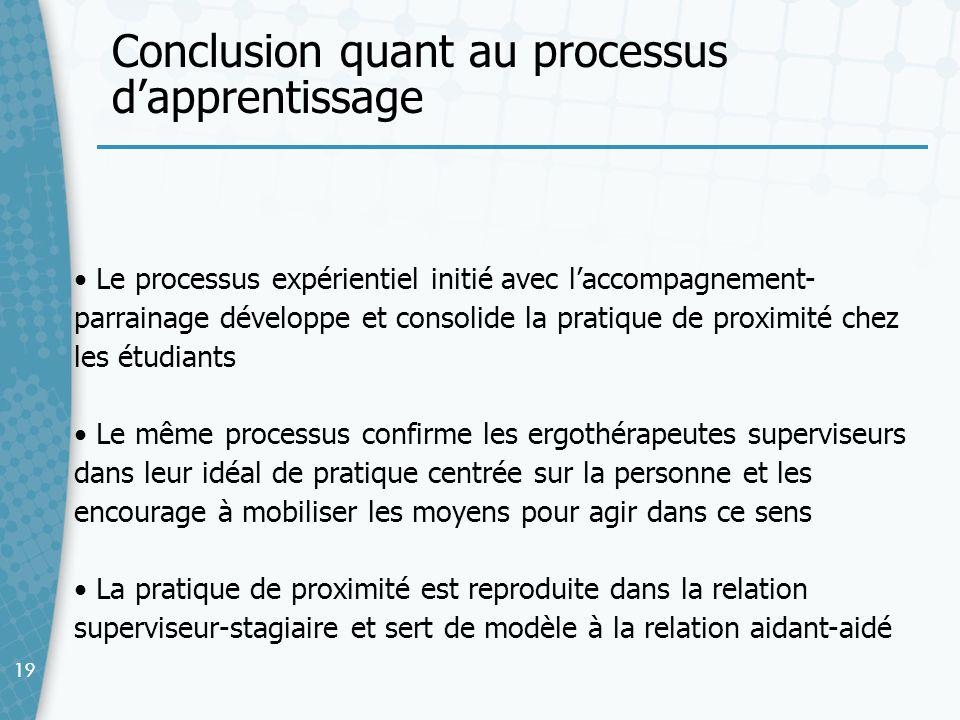 Conclusion quant au processus d'apprentissage