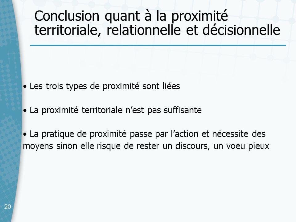 Conclusion quant à la proximité territoriale, relationnelle et décisionnelle