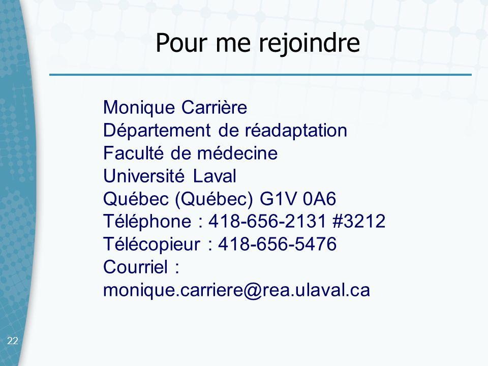 Pour me rejoindre Monique Carrière Département de réadaptation